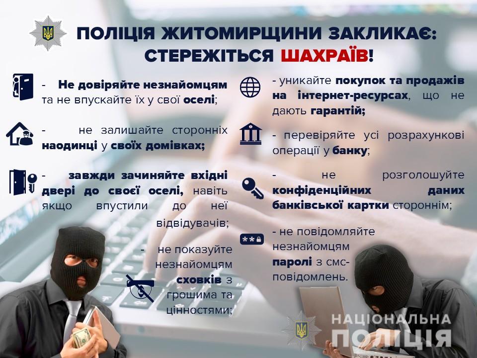 На Житомирщині протягом доби від ошуканства постраждали п'ятеро жителів області